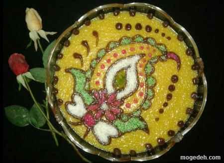 تزیین حلوا با سیخ کباب,تزیین حلوا و خرما,تزیین حلوا به شکل گل رز