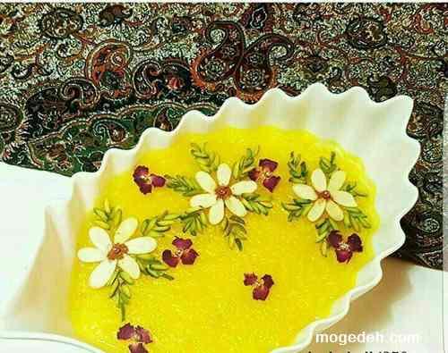 شله زرد خانم گل آور,شله زرد قالبی,تزیین شله زرد