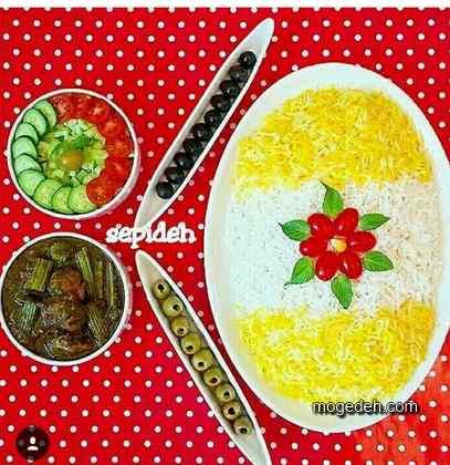 تزیین برنج ساده با زعفران