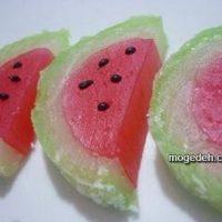 طرز تهیه باسلوق شب یلدا به شکل هندوانه