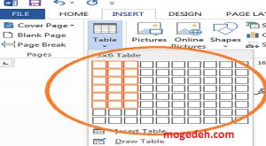 رسم جدول در ورد