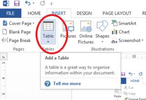 نمونه جدول در ورد