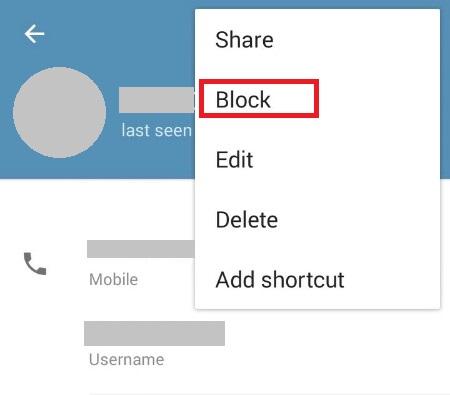 مسدود کردن کاربران در تلگرام