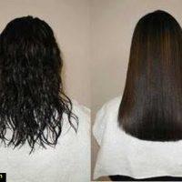 صاف شدن موهای فر با این روش ساده