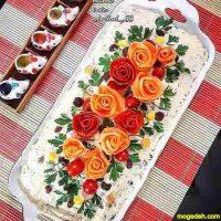 تزیین سالاد الویه با نان تست برای مهمانی ها و تولد ۹۷ و ۲۰۱۸