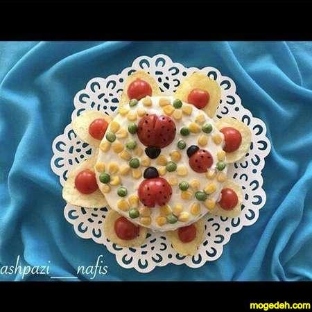 تزیین سالاد الویه به شکل قلب