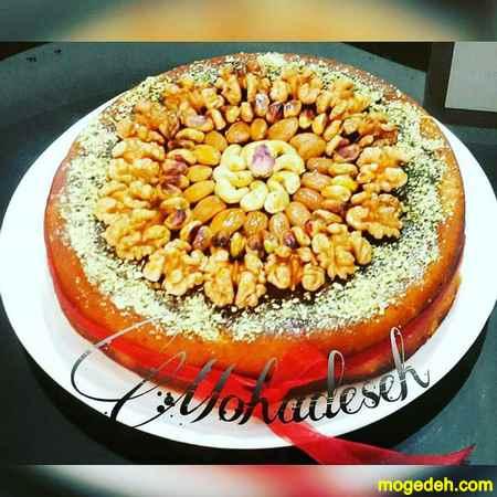 تزیین کیک با آجیل