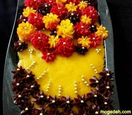 تزیین حلوا با قالب شیرینی